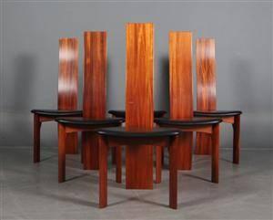 Bob og Dries van den Berghe. Seks højryggde stole, model Iris 6