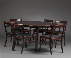 Slutpris för Ole Wanscher. Spisebord med stole,