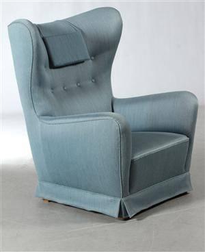Ubekendt dansk møbelarkitektproducent, 1930 -  1940-erne. Overpolstret hvilestol