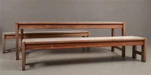 Trädgårdsmöbler ett bord och 2 st bänkar i Teak,  specialtillverkat3