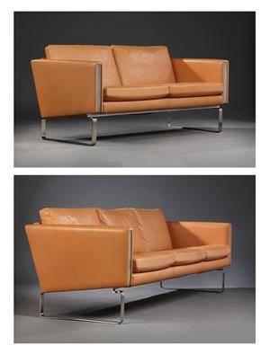 Hans J. Wegner. Tre-pers. samt to-pers. sofa, model CH-103 og CH-102, vegetabilsk læder 2