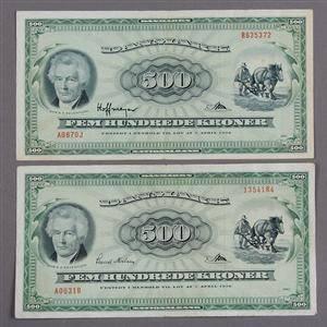 Danmark. 500 kr. Plovmand 1963 og 1967 - Sieg 138, DOP 147, Pick 47 2