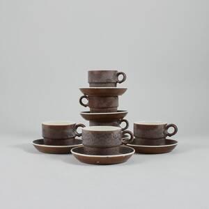 Kaffekoppar, 6st med fat