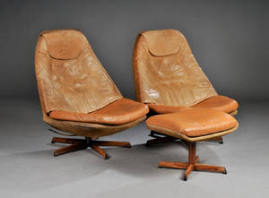 Madsen  Schøbe. Par hvilestole samt skammel 3