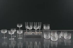 INGEBORG LUNDIN, del av glasservis, ElisabethFestival, Orrefors, 3 strl, 18 delar