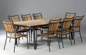 Daneline Havemøbler. Havebord samt otte armstole, teak 9