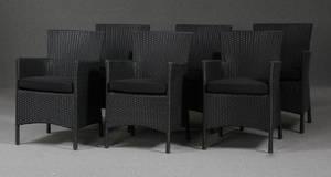Havemøbler. Seks havestole, Sort polyrattan 6