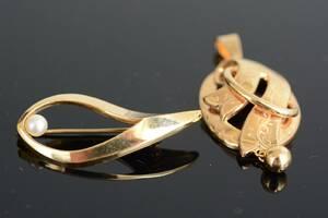Dräktsmycke samt brosch, 18-karats guld