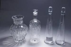 Glaskaraffer och vas, 4 st