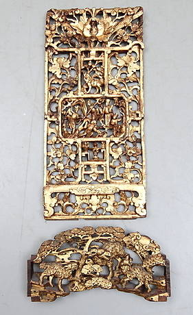 596e0456 DEKORELEMENT, 2 st, skuret trä, orientaliska.