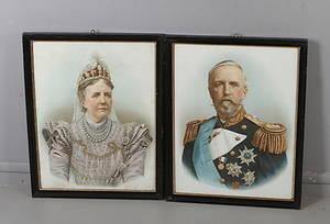 TRYCK, 2 st, Kung Oscar II samt Drottning Sofia, omkring 1900.