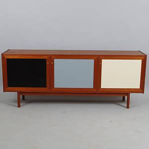 SIDEBOARD, Breox Möbler, teak med lackerade dörrspeglar.