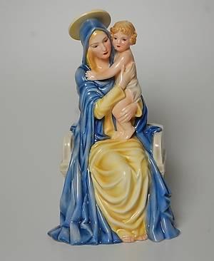 FIGURIN, porslin, Madonna med barn  Keramos, Wien, modell Podany.