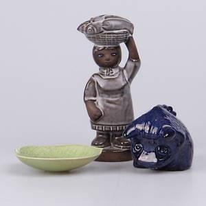 FAT, samt figuriner, 3 st. Delvis Löva, Gabrielle Citron-Tengborg, Gustavsberg.