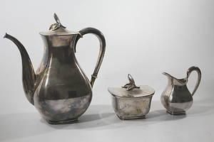KAFFESERVIS, 3 delar, silver, GEBR. Deyhle Tyskland, L9 1961, total vikt 1035 gr.