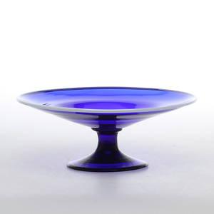 TAZZA, blått glas, möjligen Göteborg, 1800-tal.