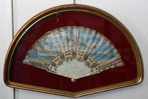 SOLFJÄDER, handmålad, Frankrike, 1700-tal.