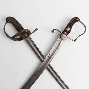 SABLAR, 2 st varav en Manskapssabel för kavalleri, pattern 1796.