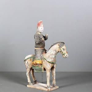TERRACOTTAFIGUR, ryttare och häst, sen Ming dynasti, 151600-tal, Kina.
