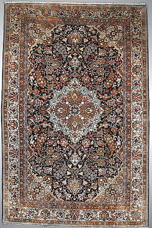 MATTA, persisk,  Kashan, silke, antik, 210x135 cm.
