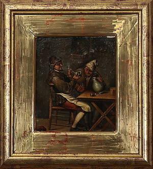 OIDENTIFIERAD KONSTNÄR. genremåleri i holländsk barockstil, 1900-tal.