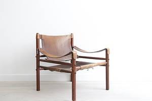 ARNE NORELL. Safari stol, Sirocco, Rosenträ.
