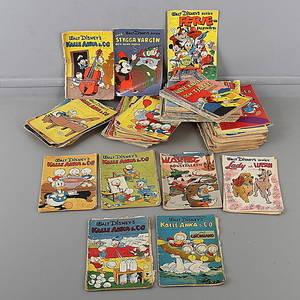 SERIETIDNINGAR, ca 85 st, Walt Disneys serier mestadels Kalle Anka  Co, 1948-1972.