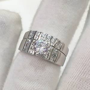 SILVER  CZ ENGAGEMENT  WEDDING RING SUITE.