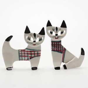 FIGURINER, ett par, porslin, katter, Dorothy Clough, 1950-tal.