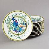 Hermès, tallrikar Toucans, 12 st., med fåglar