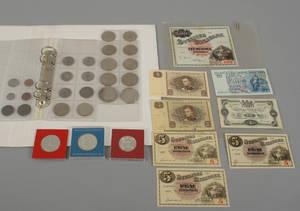 Samling mynt och sedlar 181900-tal 35
