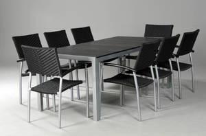 Havemøbler. Rektangulært bord samt otte armstole, artwood  polyrattan 9