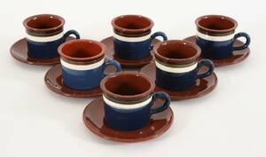 Kaffekoppar med fat 6st, Nittsjö