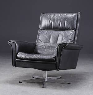 Dansk Møbeldesign. Hvilestol, sort læder
