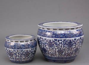 Par kinesiske urtepotteskjulere af porcelæn 2