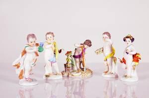 Meissen, figuriner i form av  puttis 5