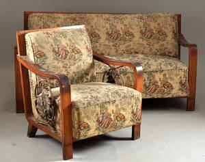 Soffgrupp i Art Deco, bestående av soffa samt 4 st fåtöljer 1940-tal 5
