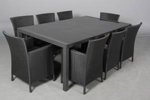 Havemøbler. Rektangulært bord samt otte armstole, sort polyrattan 10
