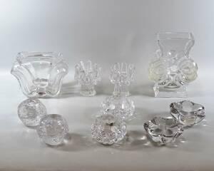 Glasföremål vaser samt ljuslyktor, 10 delar