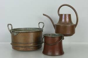 KITTEL, vattenkanna, samt hink, koppar