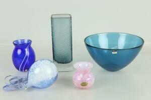 VASER, 2 st, skål, miniatyr, samt konstglas, bl.a. Fuga, Orrefors, Järvsö konstglashytta