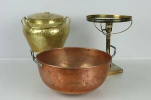 BULKRUKA, mässing, Skultuna, KITTEL, koppar, samt bordslampa