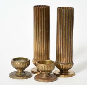 Ljusstakar, samt vaser, mässing