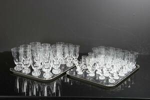 GLASSERVIS, 48 delar, slipad samt etsad dekor
