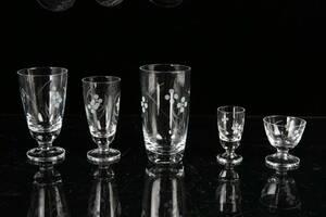 GLASSERVIS, 35 delar, slipad dekor