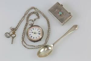 DOSA, kaffesked, mormorsur samt halskedja, silver