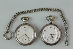 FICKUR, 2 st, bl.a. Omega, samt klockkedja.