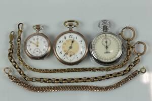 MORMORSUR, fickur, tidtagarur, samt klockkedjor, 3 st
