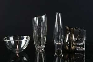SVEN PALMQVIST, skål, Fuga, samt vas, Orrefors, vaser, 2 st, bl.a. Raito, Iittala samt kanna