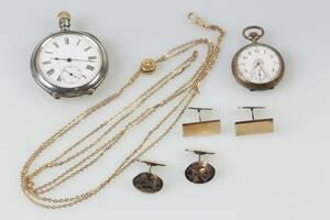 FICKUR, mormorsur, klockkedja samt manschettknappar, två par, bl.a. silver